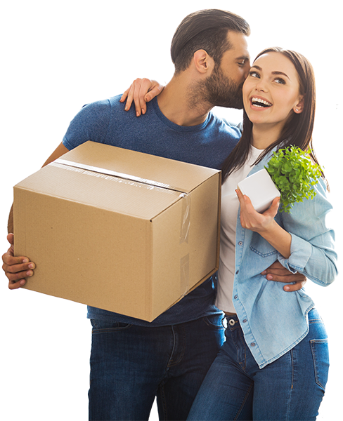 young couple happy about moving